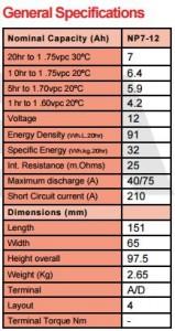 7 Ah Yuasa Akü teknik özellikleri